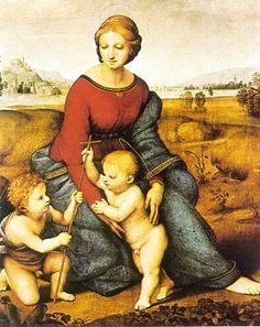 Op deze afbeelding zie je een moeder met twee kinderen. Als je goed kijkt zie je dat ze samen een driehoek vormen.