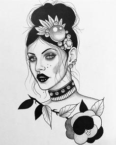 Traditional Tattoo Portrait, Traditional Tattoo Design, Pin Up Girl Tattoo, Girl Tattoos, Tattoo Sketches, Tattoo Drawings, Geisha Tattoo Design, Witch Tattoo, Woman Sketch