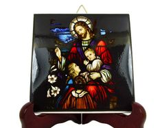 Christian gifts - Jesus with children - religious icon on tile - Christ with children - religious gift - catholic gifts - communion gift