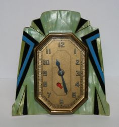 Vintage Antique Art Deco Green Blue Black Gold Tone Heart Wind-Up Desktop Clock