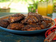 Curry Rubbed Smoked Chicken Thighs with Sorghum-Chile Glaze