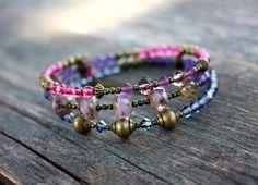 Bracelet en perles 3 tours style bohème chic (Réf Bm4) : Bracelet par les-3-oranges