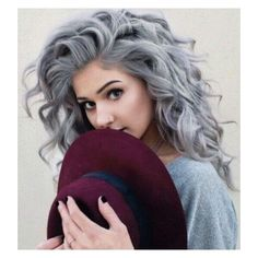 Beautiful Silver/Grey curly hair. hair color ❤ liked on Polyvore featuring beauty products, haircare y hair color