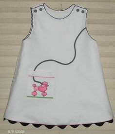 White pique jumper with pink poodle. Little Girl Outfits, Little Girl Fashion, Little Girl Dresses, Kids Fashion, Baby Girl Dresses, Baby Dress, Cute Dresses, Toddler Dress, Toddler Outfits