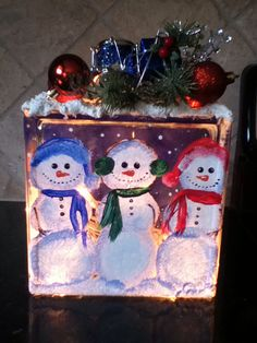 Hand painted lighted snowman glass decorative by Painted Glass Blocks, Decorative Glass Blocks, Lighted Glass Blocks, Hand Painted, Christmas Decorations For The Home, Christmas Lights, Christmas Crafts, Christmas 2016, Holiday Decorating