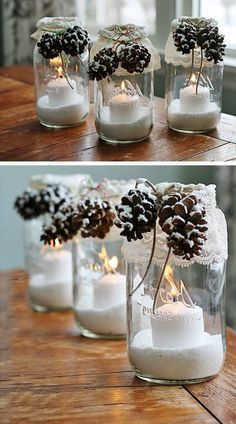 Christmas decorations to make your own - 40 beautiful ideas!fr - ideas for my new room - noel Easy Christmas Decorations, Christmas Centerpieces, Christmas Ornaments, Simple Christmas, Winter Christmas, Christmas Home, Beautiful Christmas, Deco Table Noel, Holiday Crafts