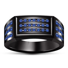 14k Black Gold Plated 925 Silver Round Blue Sapphire Wedding Men's Ring All Size #br925 #MensWeddingRing
