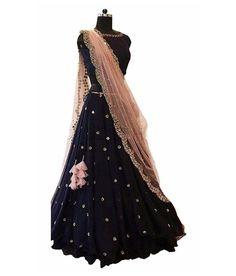 Buy Mesmerising Navy Designer Embroidered Velvet Lehenga Choli at Rs. Get latest Lehenga Kameez at Peachmode. Lehenga Choli With Price, Net Lehenga, Lehenga Blouse, Anarkali Dress, Ghagra Choli, Salwar Designs, Choli Designs, Lehenga Designs, Indian Wedding Outfits
