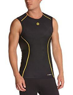 Skins Mens Sleeveless Compression Top Large BlackYellow *** More info could be found at the image url. Compression Clothing, Athletic Outfits, Black N Yellow, Athletic Tank Tops, Mens Tops, Core Muscles, Lowes Coupon, Coupon Binder, Clothes