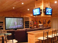 Sports Bar / Theater Room; pretty cool, I just don't care for all the pine
