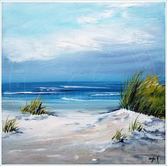 Strand Acryl Malen Malerei Canvas By Antje Hettner Acrylic Painting Lessons Summer Seascape
