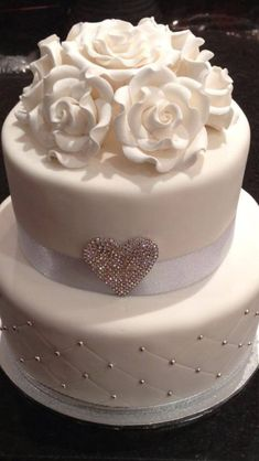Wedding cake, simple but elegant! without the flowers for me though #weddingflowers