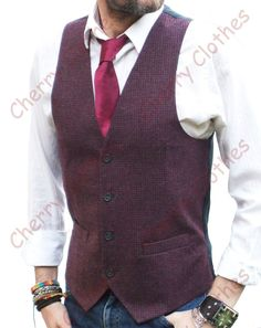 Mens Blue Grey Gray Slim Fit Tweed Wool Handle Check Waistcoat Vest All Sizes Red And Grey, Blue Grey, Gray, Grey Slim Fit Suit, Burgundy Vest, Men's Waistcoat, Workout Vest, Cool Shirts, Tweed