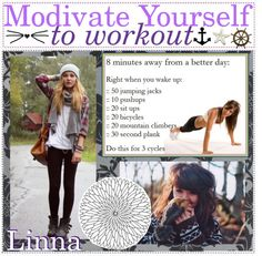 """""""Modivate yourself to workout ♥"""" by the-tip-girly ❤ liked on Polyvore"""