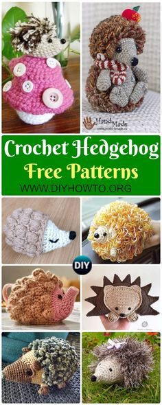 Collection of Crochet Hedgehog Amigurumi Toy Softies Free Patterns Autumn woodland Pine cone hedgehog, loopy hedgehog, ragdoll hedgehog, bobble, stripy, rainbow hedgehog via @diyhowto