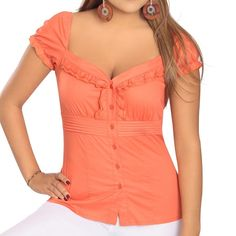 Country styled blouse 100% cotton.  It can be used on/off shoulders. Colors:  white, orange and purple.  Sizes: 10 to 16. Tops Blouses
