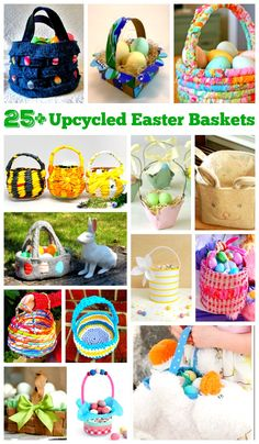 DIY upcycled Easter baskets make it easy to turn trash into a treasure. Use recycled materials to make an eco-friendly Easter Basket the kids will love! Easter Activities For Kids, Spring Activities, Easter Crafts For Kids, Easter Ideas, Bunny Crafts, Easter Recipes, Craft Activities, Homemade Easter Baskets, Easter Art