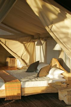 Sunrise is one of our favourite times of day, as the early light hits our tents.