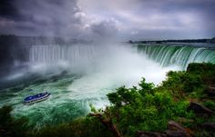 Niagara Falls, located in both Ontario, Canada and New York, USA, is the name of a group of three individual waterfalls: American Falls, Bridal Veil Falls, and Canadian Falls (aka Horseshoe Falls).