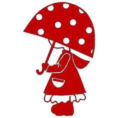 veloursmotief Jill met paraplu | Strijk / Veloursmotieven | full color strijkapplicaties en zo