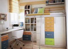 Ide untuk memisahkan furnitur dapat menjadi solusi untuk konsep desain yang efisien karena ruangan yang terlalu sempit, sehingga ruang antara wilayah belajar dan tempat tidur dapat dimaksimalkan dan lebih menghemat ruang agar ruangan tidak terasa sesak.