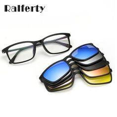 97dd88aa04 Ralferty Ultra-light Polarized Clip On Sunglasses Men Women Magnetic  Eyewear Eyeglass Frames TR90 Optical