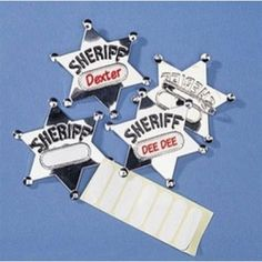 "Sherriff Badge, silver metal. 3""  1 ct .53 each :)"