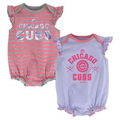MLB Chicago Cubs Baby Girls Bodysuit Set 2 Pack