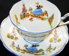 Royal Albert painted crinoline lady tea cup and saucer