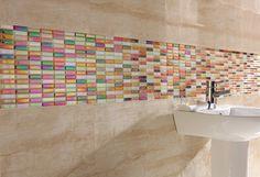 Beautiful uplifting bathroom tiles - Reflective Rainbow Mix from Topps Tiles