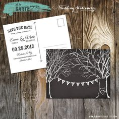 Chalkboard Inspired Trees and Banner Wedding Save the Date Card on Etsy, £9.20