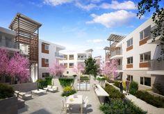 Architectural Rendering | Architectural rendering courtyard community Los Angeles