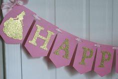 Banner de cumpleaños de Belle, Princesa Bella decoraciones fiesta rosa y oro, Disney Belle decoraciones, belleza y la bestia parte