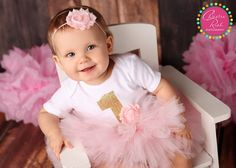 Pink Baby Girl's First Birthday Outfit Shabby by belleNwhistle
