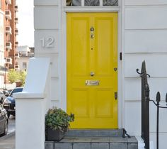 Yellow Front Door----- would be divine on a gray house with white trim and a black roof!!