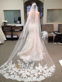 Hermosa catedral blanco / marfil Longitud del borde del cordón de la boda Velo de novia con peine