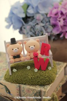LOVE ANGELS Wedding Cake Topper-love bear by kikuike on Etsy