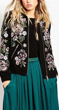 embroidered floral bomber jacket
