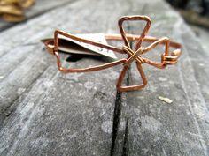 Copper cross bracelet with brass, Wire wrapped Copper Cross Bracelet, Christian bracelet, cross, hammered Cross, Copper cross Jewelry