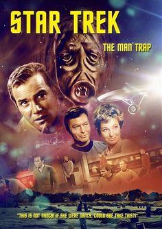 "Star Trek: The Original Series ""The Man Trap"" (First Broadcast: September Star Trek 1966, New Star Trek, Star Wars, Star Trek Tos, Star Trek Original Series, Star Trek Series, Akira, Science Fiction, Star Trek Posters"