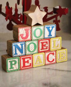 How-To: Wood Block Holiday Decorations A seasonal DIY that's easy as A,B,C! Spray paint