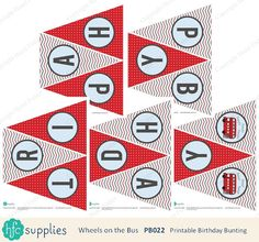 Wheels on the Bus Birthday Bunting - printable happy birthday party banner, red London bus - Digital Happy Birthday Parties, Happy Birthday Messages, Striped Background, Background Patterns, Blog Backgrounds, Birthday Bunting, Wheels On The Bus, Bunting Banner, Printable Designs