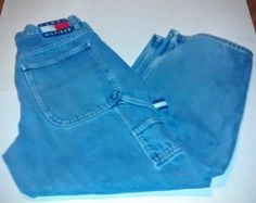 RARE Vintage 90s Tommy Hilfiger Carpenter Painter Retro Blue Jeans Hip Hop 33/30