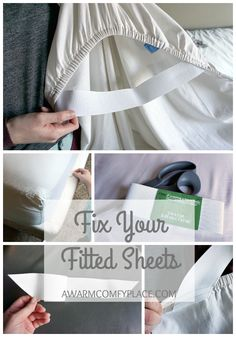 Fix Your Fitted Sheets! - A Warm Comfy Place Fix Your Fitted Sheets! - A Warm Comfy Place,A Warm Comfy Place A quick and simple way to make your fitted sheets stay put. Check it out! Sewing Hacks, Sewing Tutorials, Sewing Crafts, Sewing Patterns, Sewing Tips, Sewing Ideas, Diy Crafts, Techniques Couture, Sewing Techniques