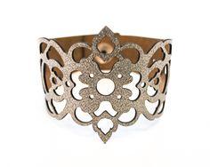 Laser Cut Leather Cuff Bracelet - Clover design £18.00