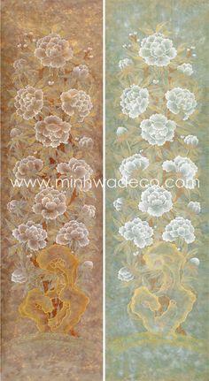 Korean Painting, Painting & Drawing, Korean Art, Asian Art, Korean Traditional, Flower Art, Peonies, Iris, Folk Art