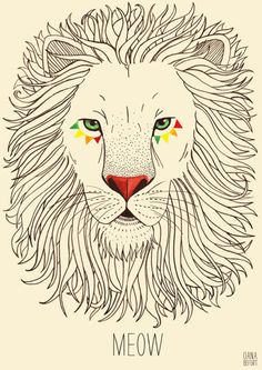 Love the little decoration around the eye, that's a really cool idea, makes it less masculine. Would love to see the profile... Neat drawing of lion @Oana Carja Carja Carja Befort Illustration Friday: ferocious