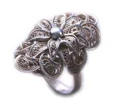 Filigree silver ring, hanmade. Pierścionek filigranowy srebro próba 0,925