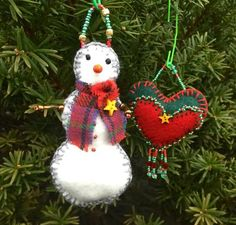 Set of 2 Handmade felt, bead and tartan snowman and heart Christmas ornaments. Free shipping.