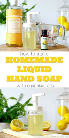 Easy 3 Ingredient Non-Toxic Liquid Hand Soap Recipe - - Did you know that you only need 3 ingredients to make your own DIY Liquid Hand Soap? It's so easy to make your own, and this non-toxic lemon scented hand soap is sure to become your favorite! Homemade Hand Soap, Homemade Soap Recipes, Castile Soap Recipes, Diy Foam Hand Soap, Uses For Castile Soap, Diy Hand Soap Recipe, Homemade Shower Gel, Homemade Body Wash, Homemade Cleaning Products